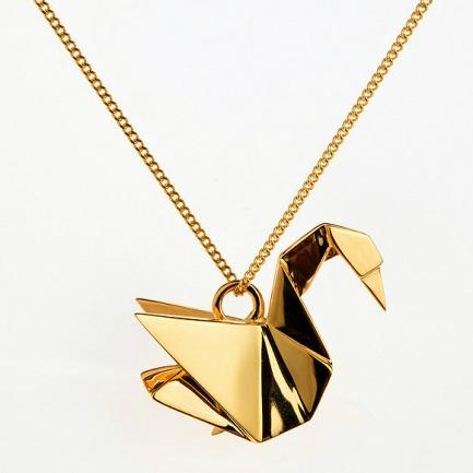 天鹅折纸项链
