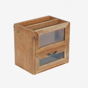 复古收纳盒 玻璃木质柜