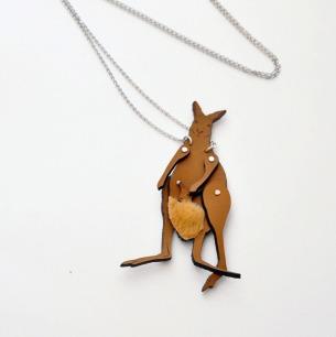动物造型手工真皮项链(袋鼠)