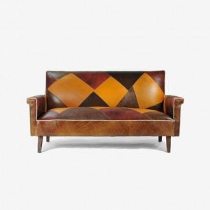 复古实木拼接牛皮双人沙发
