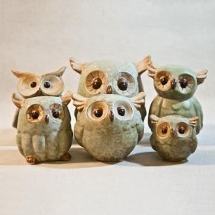 可爱陶瓷猫头鹰摆件 日式田园风家居摆饰品