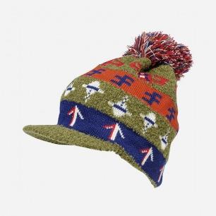 圣诞花纹针织短舌帽