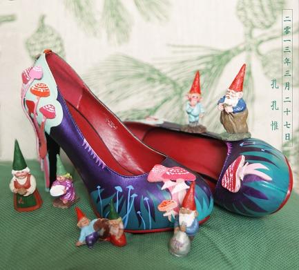 孔孔惟原创手绘蘑菇高跟鞋