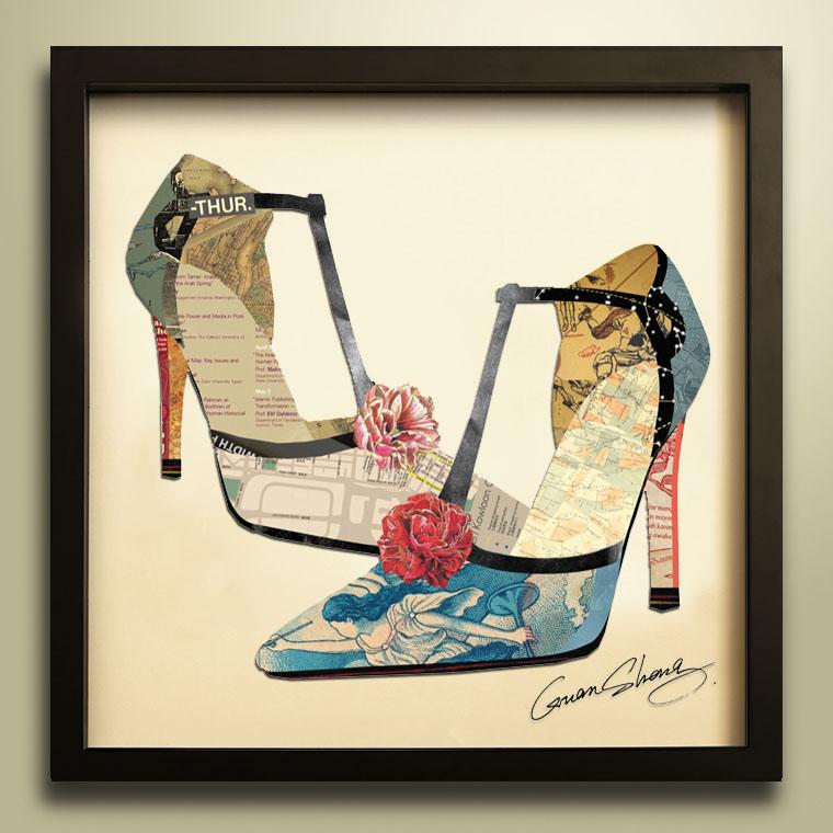 > 一双高跟鞋-拼贴画